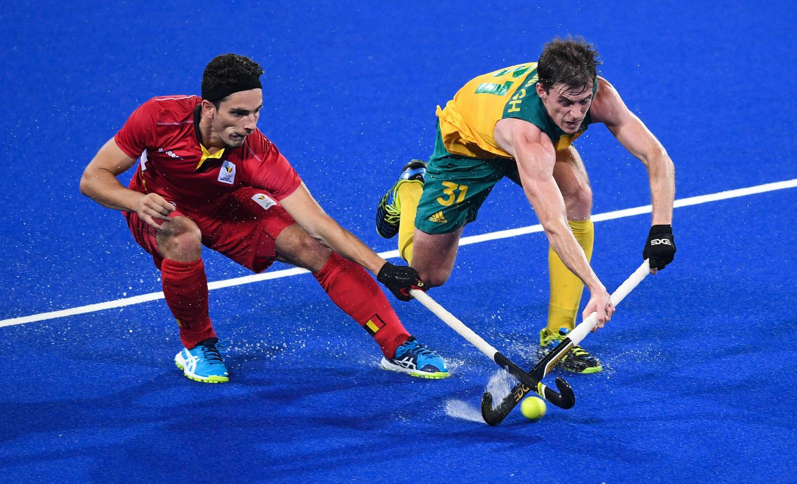 Хоккей на траве. Эпизод матча между Бельгией и Австралией