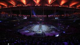 Окончание парала атлетов на церемонии закрытия Олимпийских игр