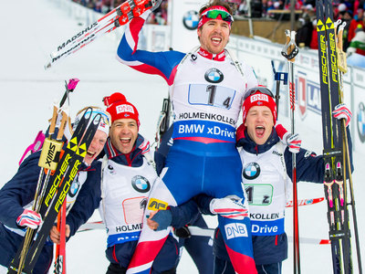 Норвежские биатлонисты бурно отметили окончания сезона