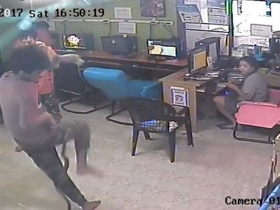 Змея напала на посетителей интернет-кафе в Таиланде. Видео