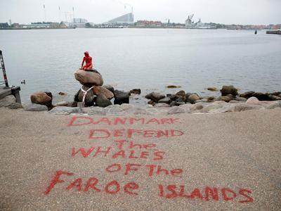 Зоозащитники облили красной краской статую Русалочки. Фото