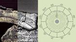 Фрагмент циферблата с календарной и зодиакальной шкалой на передней панели механизма. Фото и иллюстрация: The Antikythera Mechanism Research Project