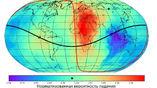 Степень риска для разных регионов Земли на момент падения Тунгусского метеорита. Звёздочкой обозначены место падения на карте и риск для этого региона на шкале.