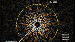 Данные, полученные телескопом Subaru в инфракрасном диапазоне. После обработки и удаления разрозненных звёзд изображение указало орбиту планеты GJ 504b