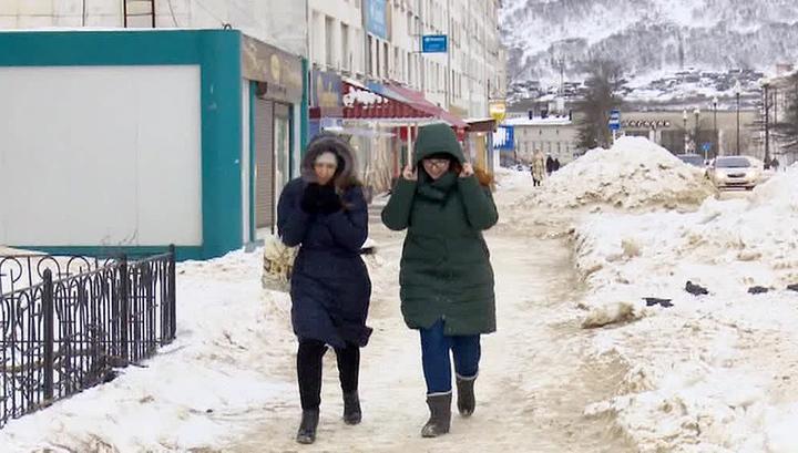 Магадан заносит снегом
