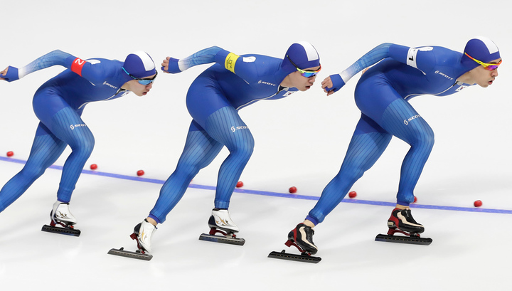 Конькобежный спорт. Южнокорейцы завоевали серебро в командной гонке