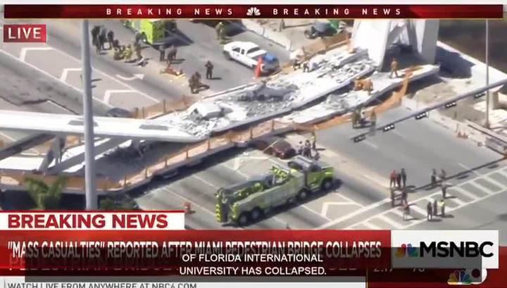В Майами обрушился пешеходный мост: есть пострадавшие