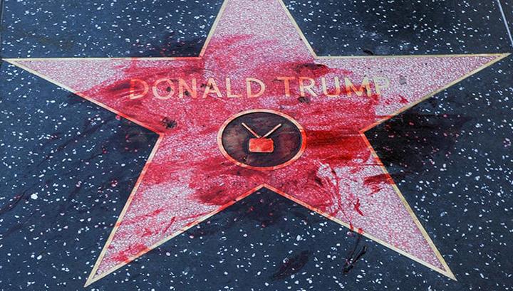 Вандализм по-голливудски: звезду Трампа измазали краской, похожей на кровь