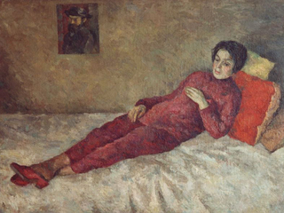 Р. Фальк. Женщина, лежащая на тахте под портретом Сезанна (Р.В. Идельсон) 1929. Частное собрание