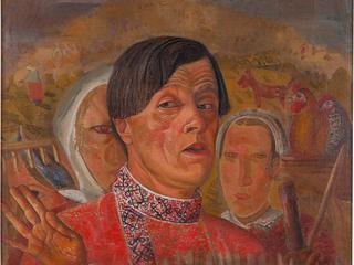 Б. Григорьев. Автопортрет с курицей и петухом. 1920-е. Х.м.