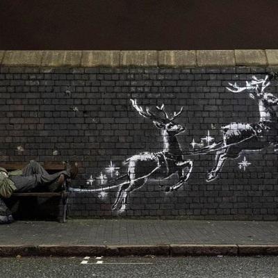 Бэнкси нарисовал новую работу в преддверии Рождества