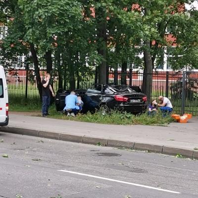 4 человека пострадали в Петербурге при падении дерева на машины из-за сильного ветра