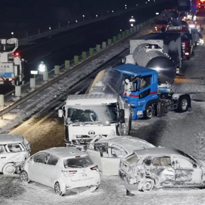 134 автомобиля попали в ДТП в Японии