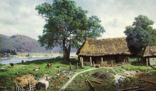 Деревенский пейзаж. Картина