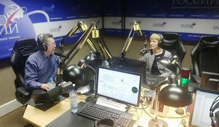 """Надежда Дробышевская и Галим Вергасов в студии """"Радио России"""""""