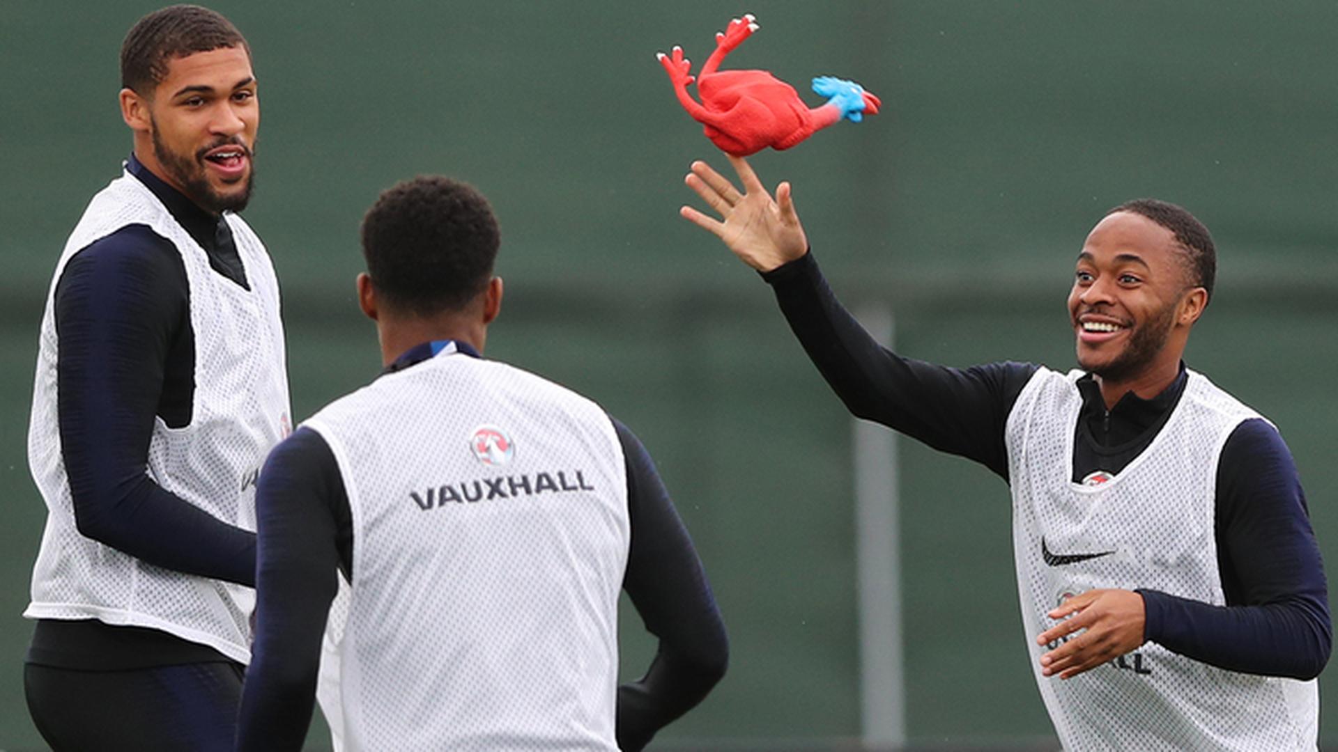 Сборная Англии тренировала отбор с помощью резиновых петухов