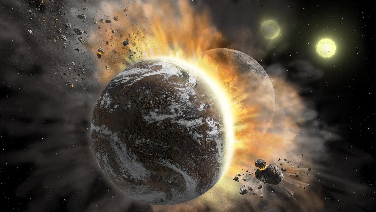 Место недавнего столкновения планет внезапно стало горячее