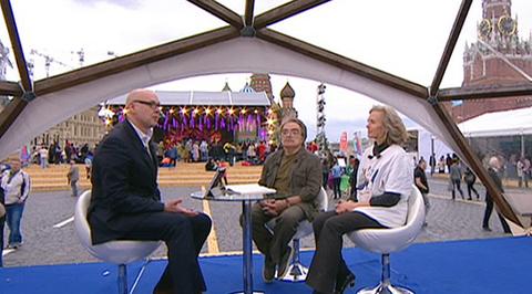 """Книжный фестиваль """"Красная площадь"""" в прямом эфире. Анна Чернакова и Александр Адабашьян (включение 6 июня 15:10)"""