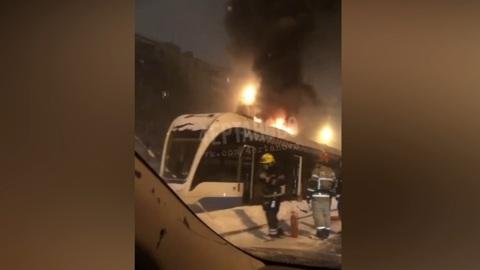 ЧП. Трамвай загорелся на юге Москвы