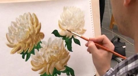 """Уроки рисования с Сергеем Андриякой. """"Хризантемы"""""""