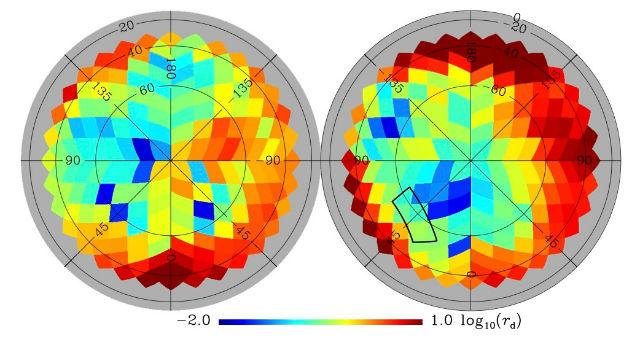 """На карте """"Планка"""" отмечены участки с максимальной и минимальной степенью запылённости, от красного до синего, соответственно"""