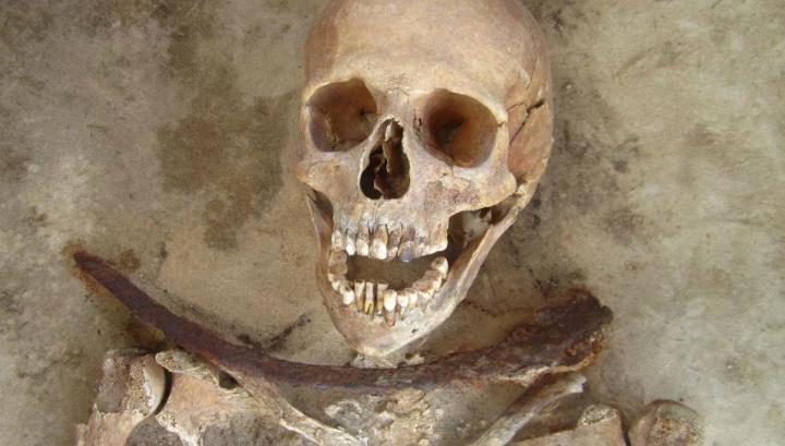 Скелет женщины, умершей в возрасте 30-39 лет и захороненной с серпом поперёк шеи