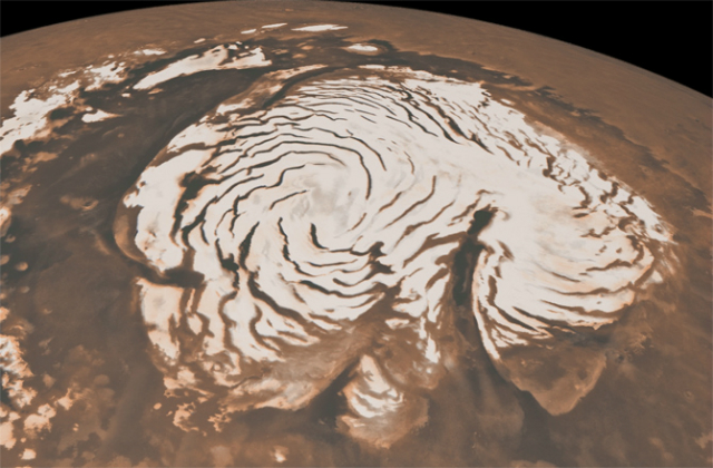 Ледяная шапка на севере Марса сравнима по размерам с американским штатом Техас