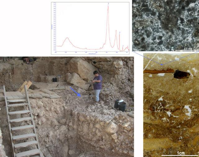 Слева вверху: спектр отложений показывает, что в них преобладает кальцит древесной золы. Слева внизу: положение очага в пещере. Справа вверху: тёмно-серые частицы древесной золы. Справа внизу: срез показывает слои сожжённых костей