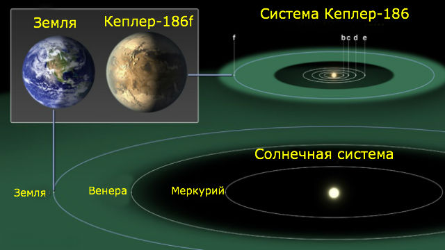 Сравнение масштабов планет и орбит Солнечной системы и системы Кеплер-186. Из-за тусклости родного светила изученная экзопланета получает столько же тепла, сколько и Земля, располагаясь на более близкой орбите