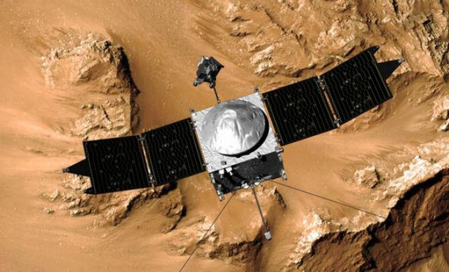 Находясь на высоте 380 километров над полярной областью Марса, зонд совершит все необходимые измерения параметров атмосферы