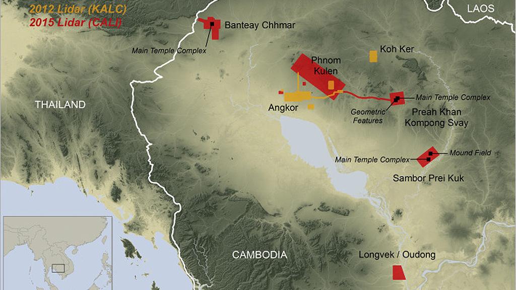 Карта Камбоджи с зонами LIDAR-сканирования 2012 и 2015 годов. Изображение: Damian Evans / CALI / NASA SRTM
