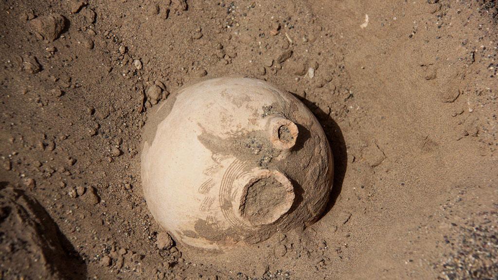 Неизвестный древний город, обнаруженный благодаря песчаной буре. Глиняный сосуд. Фото: Mehr