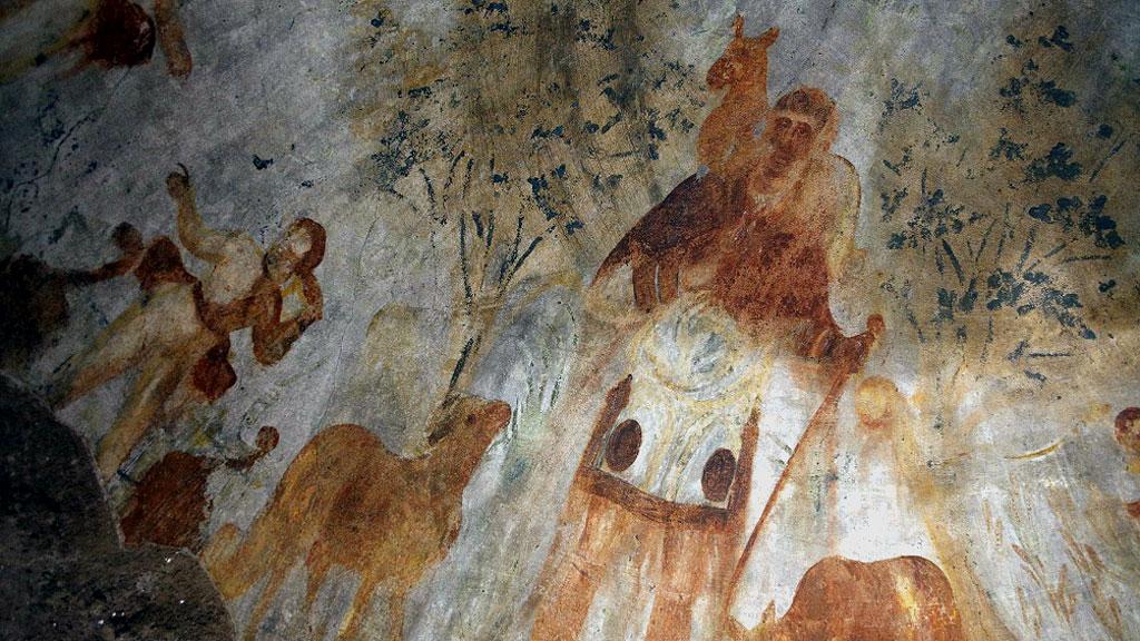 Фрагмент потолочной фрески в ╚кубикуле пекарей╩: Иисус в образе Доброго Пастыря и сбор плодов. Фото: CNS / Carol Glatz