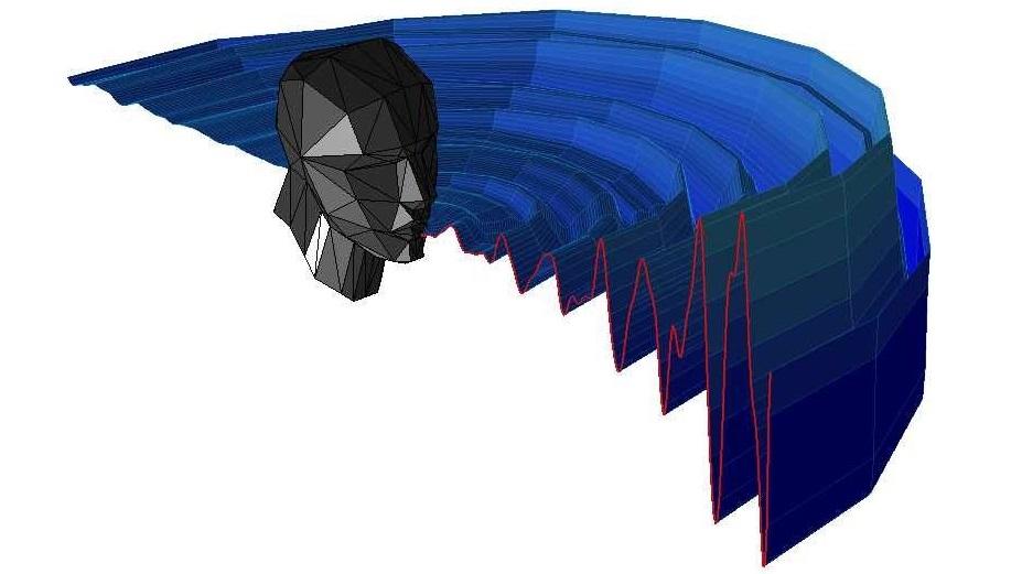 Иллюстрация акустической картины щелчков рта для эхолокации человека.