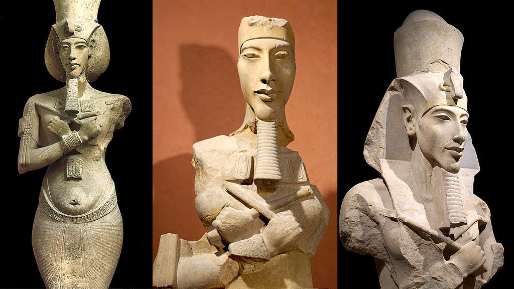Колоссы Аменхотепа IV из храма в Карнаке. Фото: Каирский музей / Лувр
