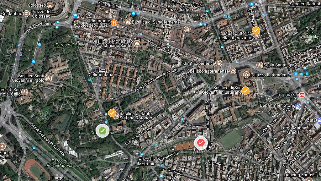 Места расположения найденных ранее следов военных лагерей. Красным отмечено место текущих раскопок на Амба Арадам, зеленым √ расположение лагеря, известное только по Мраморной карте Рима. Изображение: Google Maps
