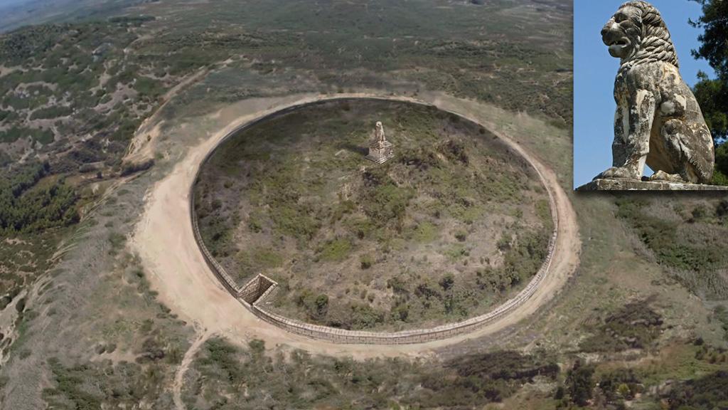 Реконструкция возможного вида погребального комплекса на холме Каста с изваянием ╚Лев Амфиполиса╩, помещенным на вершину. Изображение с сайта amfipolis.com