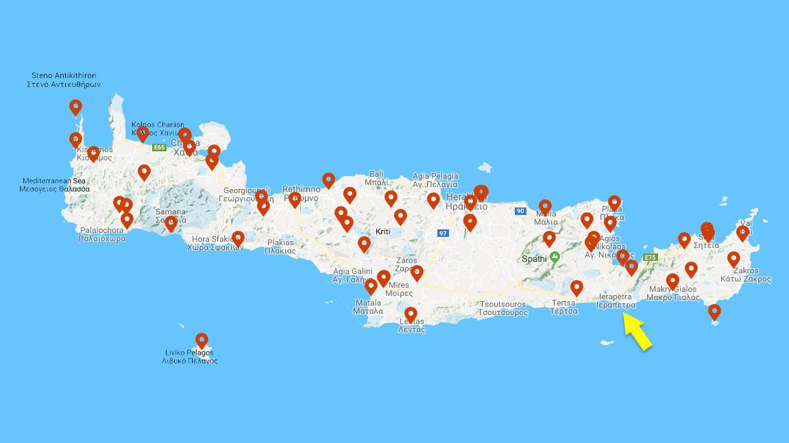 Карта Крита с местами крупных археологических находок. Желтая стрелка указывает на область Иерапетры. Изображение: incrediblecrete.gr / Google
