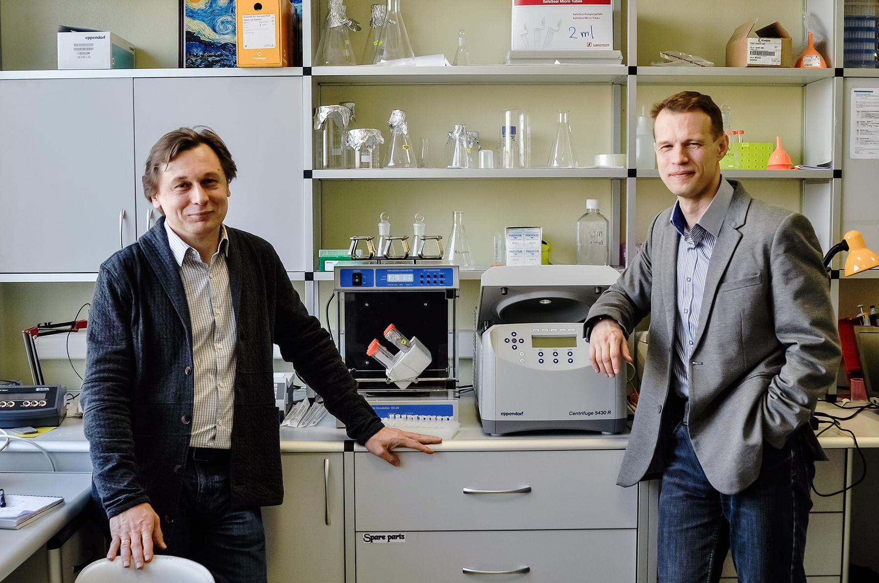 Соавторы работы Вадим Гладышев (слева) и Сергей Дмитриев (справа) в лаборатории.
