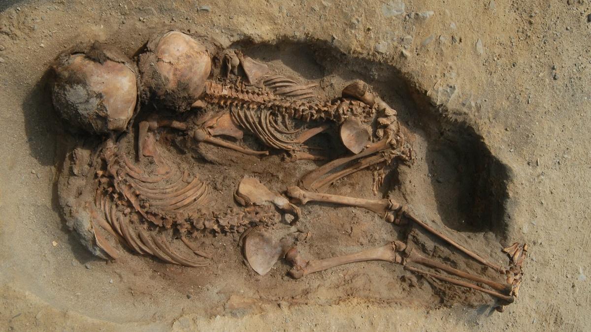 Дети были погребены лицом на запад, а морды животных были обращены на восток.
