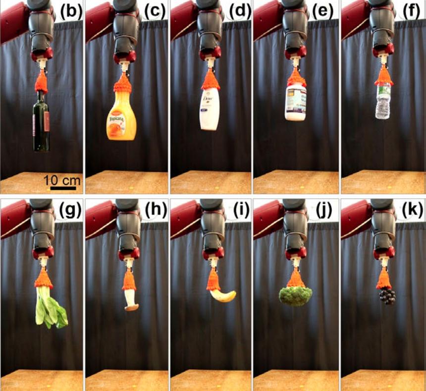 Во время тестирования робот смог поднять самые разные предметы, включая фрукты, овощи, бутылки и банки.