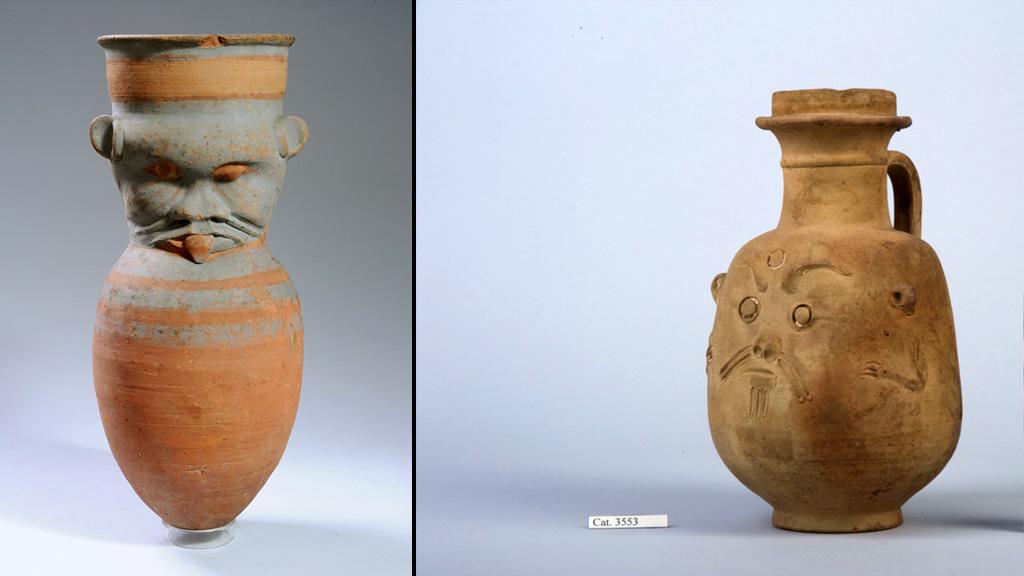 Древнеегипетские глиняные сосуды в форме Беса. Слева – 1539-1076 до н.э., справа – V век до н.э. Фото: Museo Egizio (Египетский музей в Турине)