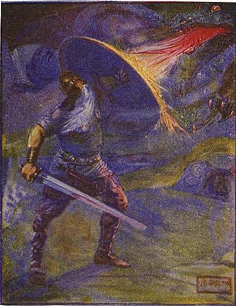 Поединок Беовульфа с драконом (иллюстрация к изданию 1908 года).