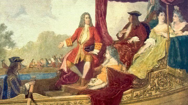 Георг Фридрих Гендель  и Король Георг I на Темзе 17 июля 1717. Картина Эдуарда Хаммам