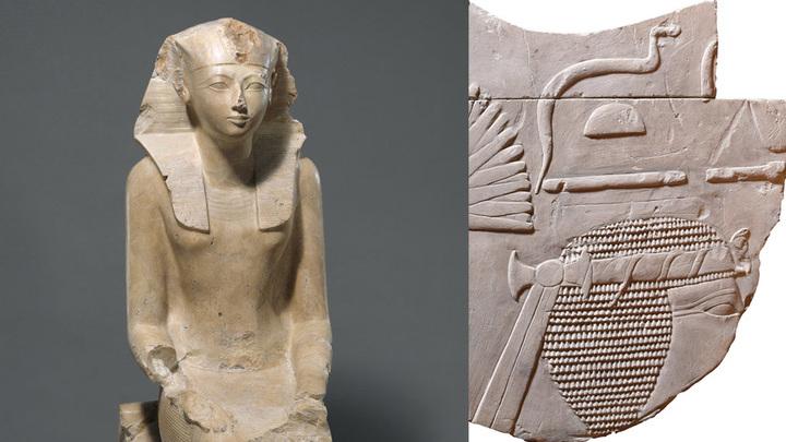 Изображения Хатшепсут: статуя в музее Метрополитэн и обнаруженный в Суонси фрагмент рельефа. Фото: metmuseum.org и Swansea University
