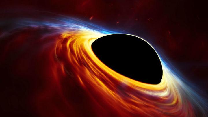 Художественное изображение быстровращающейся сверхмассивной чёрной дыры, окружённой аккреционным диском.
