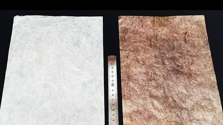 Лист бумаги до (слева) и после поэтапной обработки (справа).