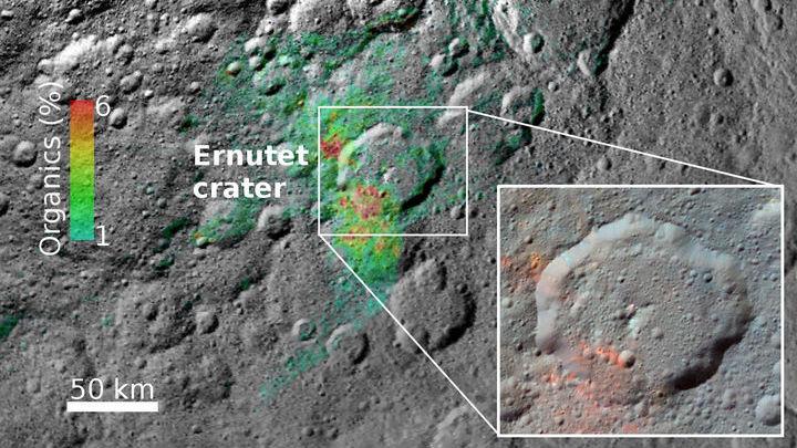 Распределение обнаруженных органических веществ по поверхности Цереры.