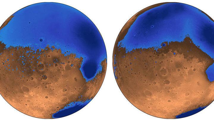 Карта древнейшего вулкана Arabia (слева) и более молодого Deuteronilus (справа).