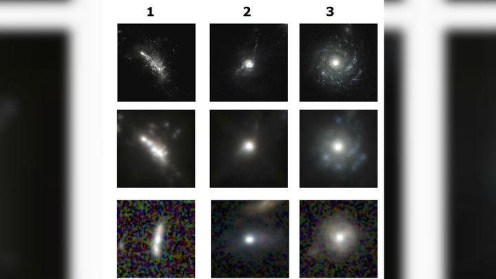 """Изображения, отобранные искусственным интеллектом. Первый столбец - галактики до фазы """"голубого комка"""", второй столбец - галактики в этой фазе, третий - после неё."""